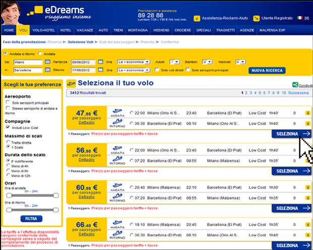 passo 3 scelta volo eDreams