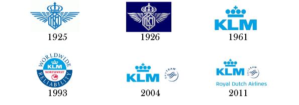 Evoluzione logo KLM
