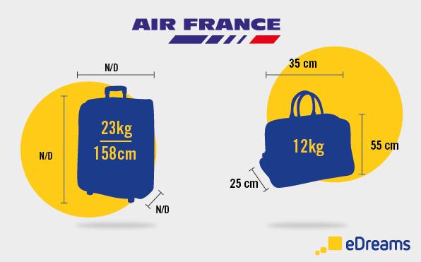 Air France:  dimensioni bagaglio a mano e bagaglio da stiva