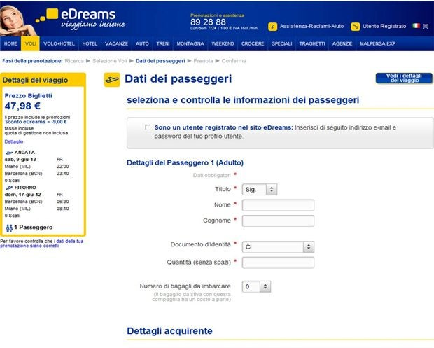 passo 5 dati passeggeri eDreams