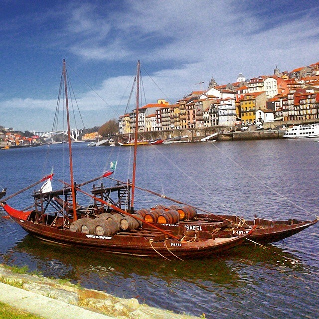 Rabelo boat in the Douro River in Porto