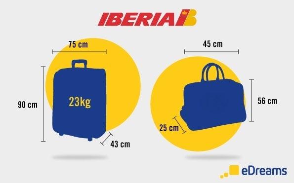 Iberia: Dimensioni bagaglio a mano  e bagaglio da stiva