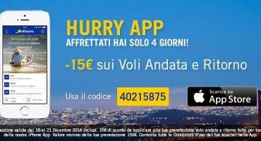 Con Hurry APP sconto di 15€ sulla vostra prenotazione da iPhone