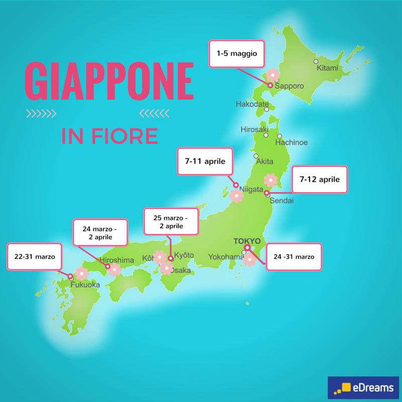 Mappa Giappone,  fioritura ciliegi giappone