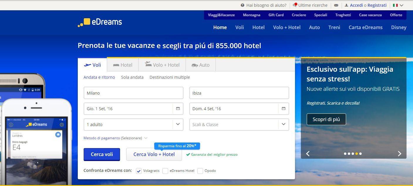 schermata ricerca volo edreams blog di viaggi