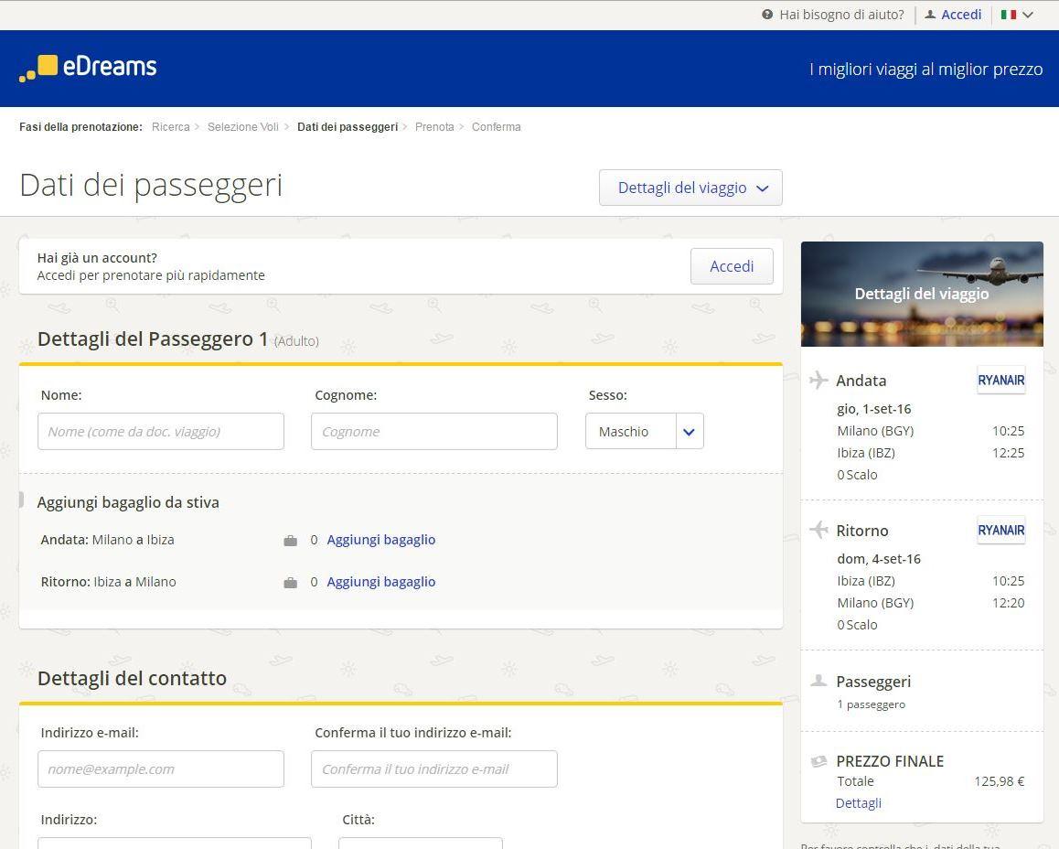 dati personali edreams blog di viaggi