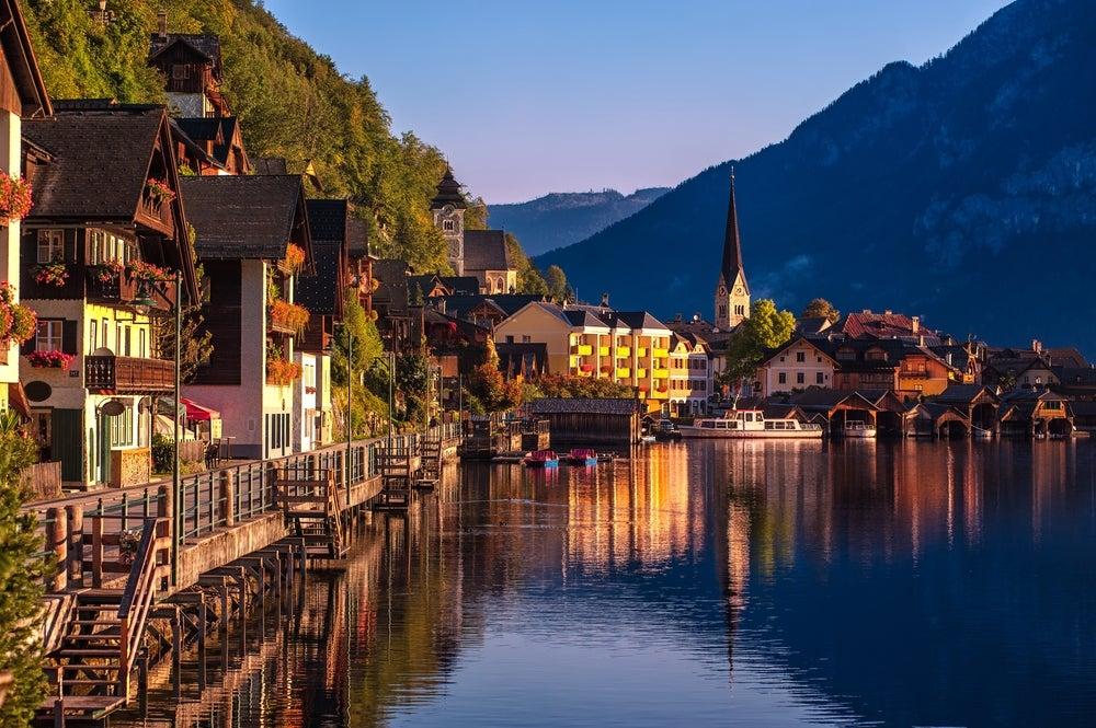 Hallstatt panorama villaggio Austria