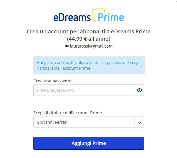 eDreams Prime account