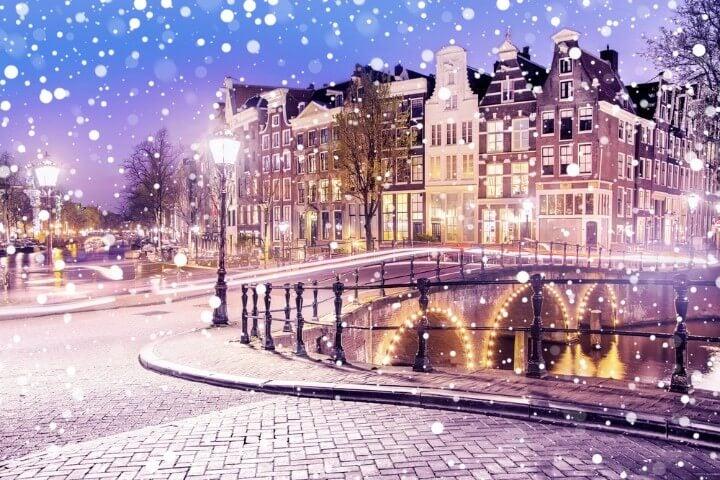 Nevicata ad Amsterdam in inverno