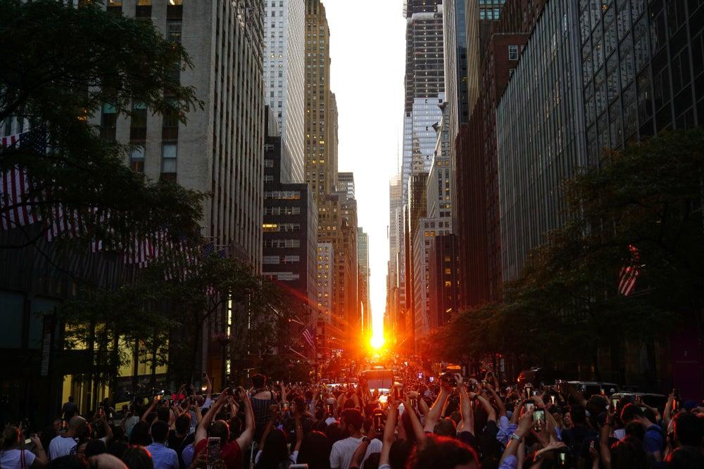 Manhattanhenge tramonto New York